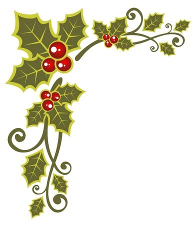 hulst: Kerst patroon met hulst bes geïsoleerd op een witte achtergrond. Stock Illustratie
