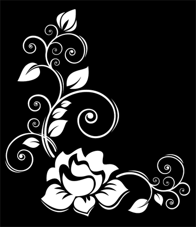 黒地に薔薇の様式化された花の境界線。  イラスト・ベクター素材