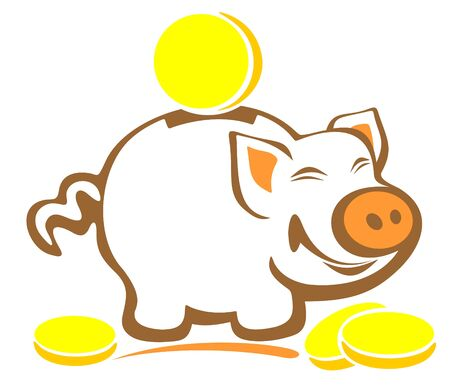 Stylized piggy bank and coins isolated on a white background. Vector