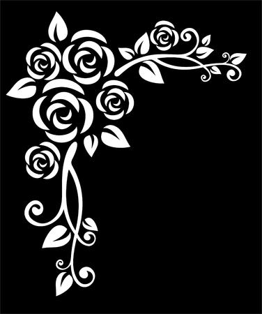 様式化された白い花の境界線、黒の背景にローズ。
