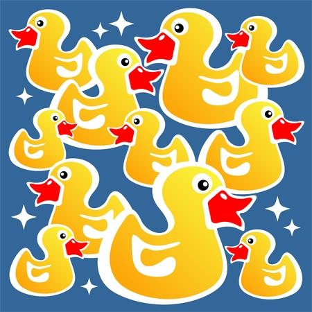 pato caricatura: Patos Cartoon amarillo sobre un fondo azul.