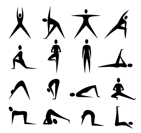 positions: Black stylized yoga people silhouettes isolated on a white background.