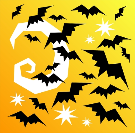 Flying stylized bats and moon. Halloween illustration. Stock Vector - 5612452