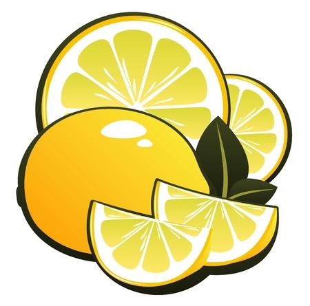 Stylized lemon slices and lemon isolated on a white background. Illustration