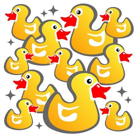 Cartoon yellow ducks on a white background. Vector