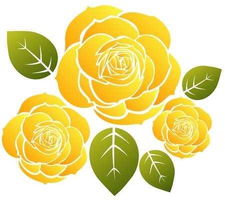 様式化された黄色のバラと白い背景の上の葉。