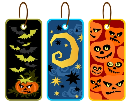 angry sky: Three Halloween price tags isolated on a white background.