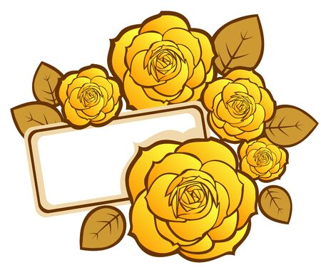 yellow roses: Stylized roses and leaves with card on a white background.