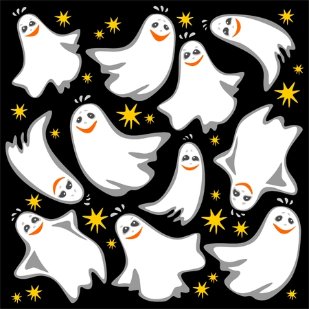 Cartoon flying ghosts on a  black background. Halloween illustration. Vector
