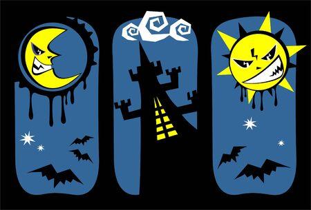 zon en maan: Gestileerde zon, maan en kasteel. Halloween illustratie.