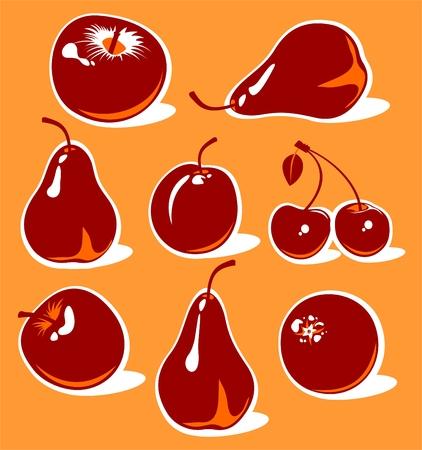 Stylized fruits set isolated on an orange background. Vector