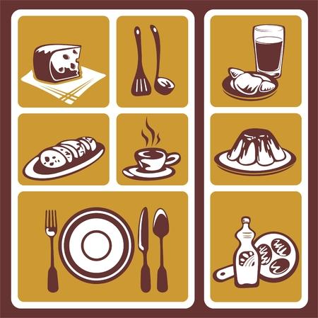 Stylized food symbols set isolated on a white background. Vector