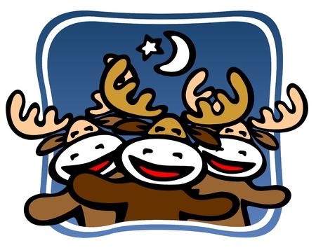 Cartoon happy Christmas deers team on a blue background. Stock Vector - 5870298