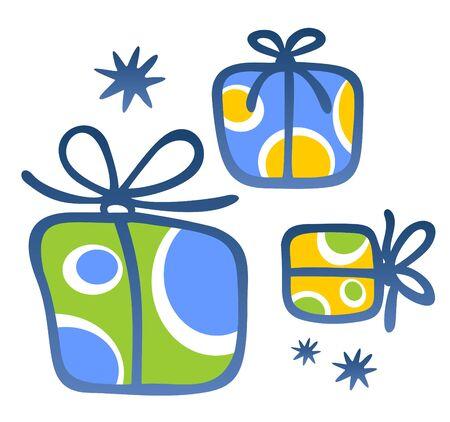 three gift boxes: Tres regalos de cuadros sobre un fondo blanco.