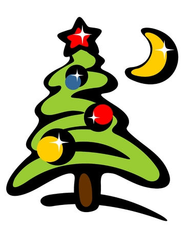 Cartoon Christmas tree and moon on a white background. Vector Illustration