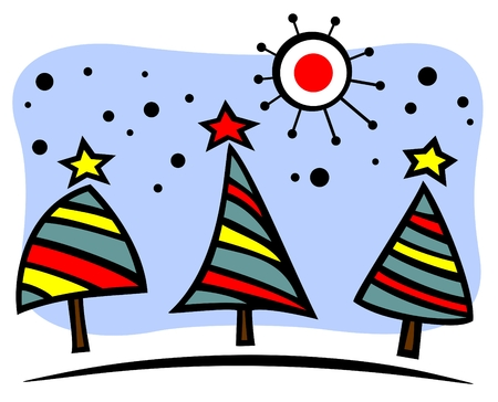 seasonal symbol: Cartoon Christmas trees set  on a blue background. Illustration