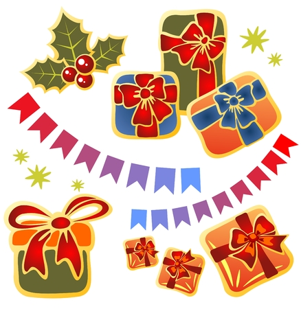 Christmas gift boxes set isolated on a white background. Vector