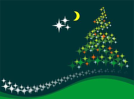 fondo verde oscuro: �rboles de Navidad y la Luna a un fondo de color verde oscuro.  Vectores