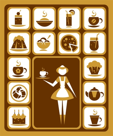 Nice stylized waitress and food icons set. Vector