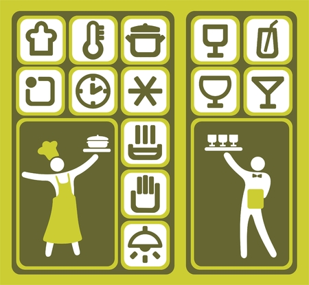 Stylized cook and waiter and restaurant icons set.
