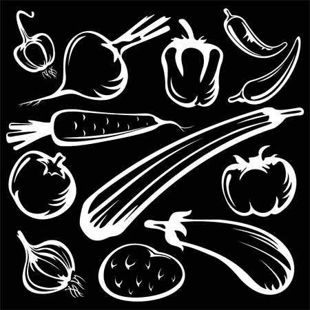 black pepper: Stylized vegetables set silhouettes isolated on a black background.