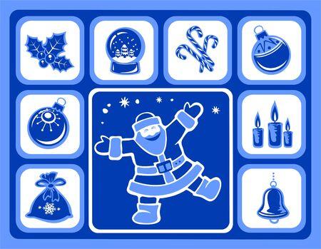 Christmas icons set: santa, balls, holly berry, candles, candy canes, snow globe and handbell. Stock Vector - 6025750