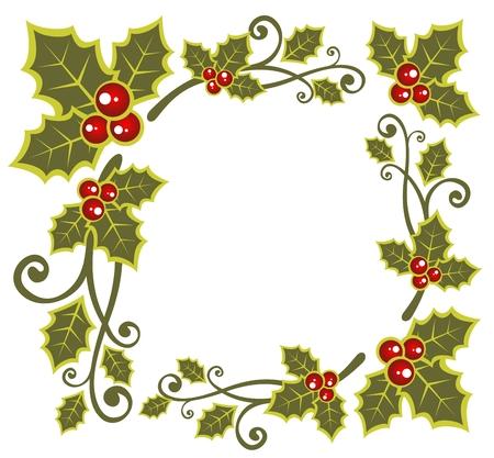 ホーリーベリーのクリスマスのパターン分離白い背景の上。