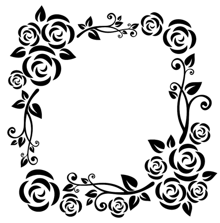 Stylized pattern  with roses and curves on a white background.
