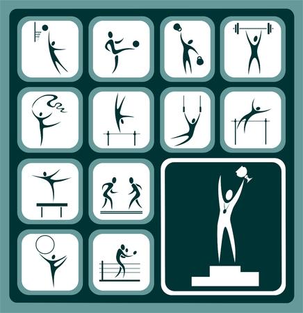 gymnastic: Stylized sports icons set isolated on a green background. Illustration