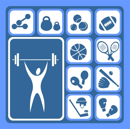 Stylized sports equipment icons set isolated on a blue background. Vector