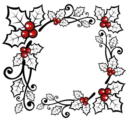 frutos rojos: Patr�n de la Navidad, con Holly Berry, sobre un fondo blanco. Vectores