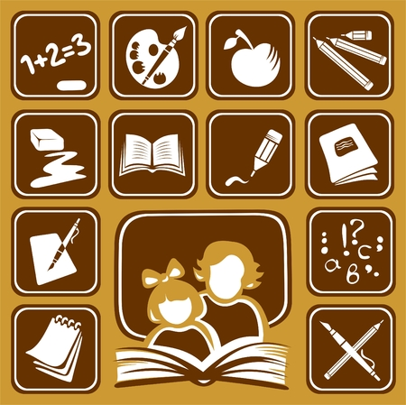 exclamation icon: Stylized school symbols and woman with girl on a brown background.