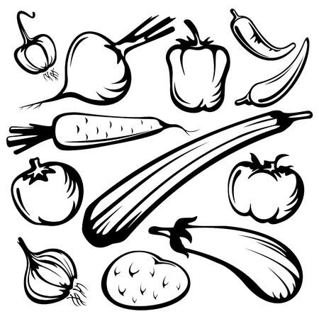 Gestileerde groenten ingesteld silhouetten geïsoleerd op een witte achtergrond.