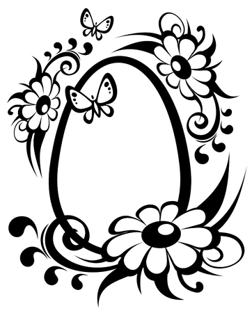 Ornate easter egg and flowers isolated on a white background.