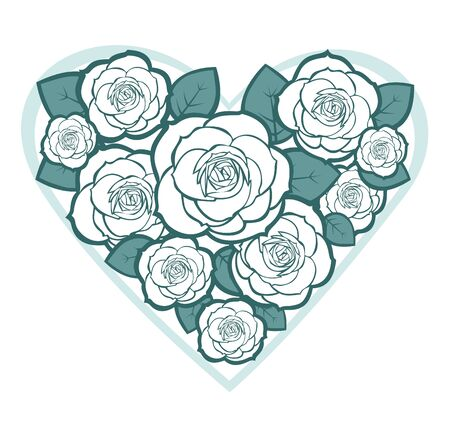 Stylized heart  with roses isolated on a white background. Vector