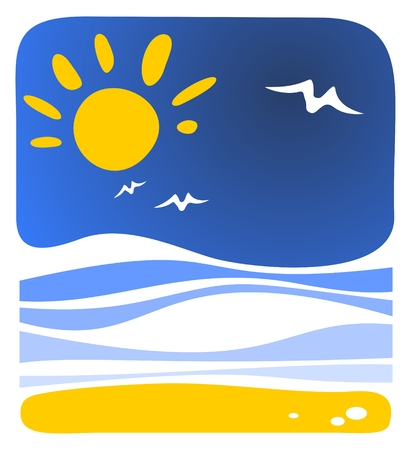 Cartoon sea background with sun and waves. Stock Vector - 6431950