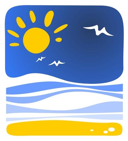 sea gull: Cartoon sea background with sun and waves.