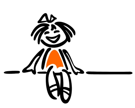 Happy cartoon girl isolated on a white background. Illustration