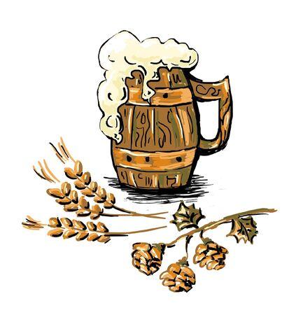 cerveza negra: Beer mug y trigo del oído aislado en un fondo blanco. Foto de archivo