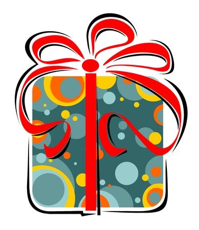 Stylized gift box  isolated on a white background.
