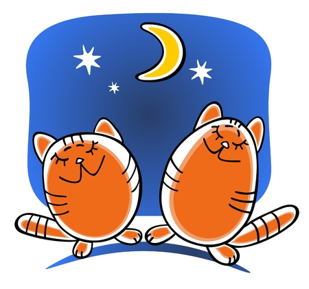 Two cartoon happy cats and moon on a blue background. Vector