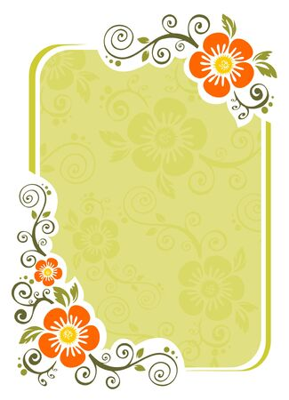 Stylized floral pattern on a green striped background. Vector