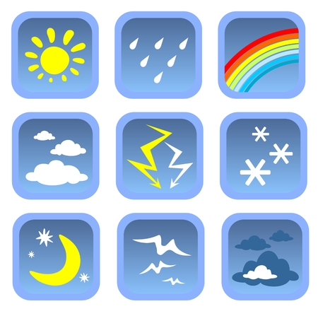 Cartoon weather symbols set on a white background. Vector