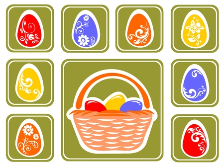 Easter eggs set isolated on a green background. Vector