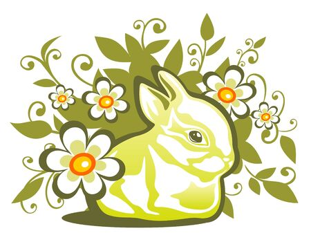 Easter  rabbit  on a green floral background. Vector