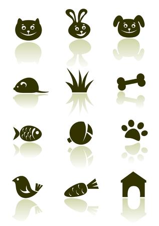 hueso de perro: Estilizado conjunto de iconos de mascotas aislado en un fondo blanco.