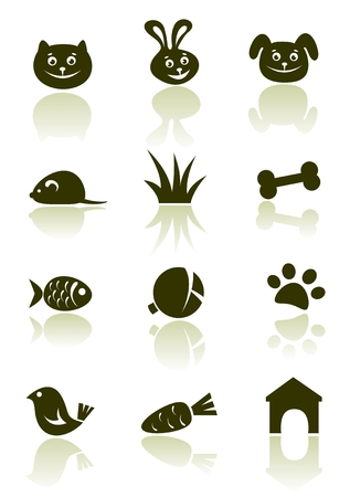 Stylized pet icons set isolated on a white background. Illustration