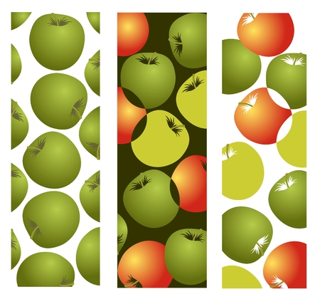 Three frames with green and red apples on a white background. Vector