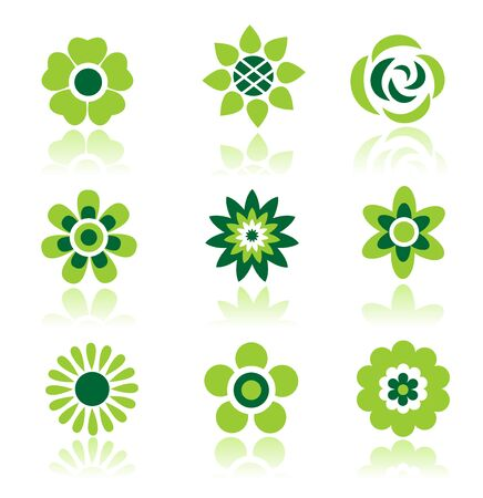 Stylized flowers set  isolated on a white background. Stock Vector - 6708734
