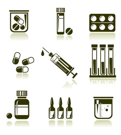 medical injection: Stylized medical symbols set isolated on a white background.